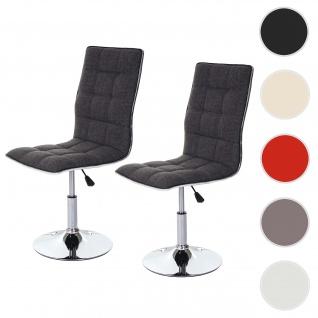 2x Esszimmerstuhl HWC-C41, Stuhl Küchenstuhl, höhenverstellbar drehbar, Stoff/Textil