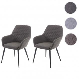 2x Esszimmerstuhl HWC-D35, Stuhl Küchenstuhl, Stoff/Textil Retro