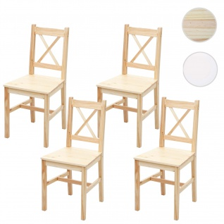 4x Esszimmerstuhl HWC-F77, Lehnstuhl Küchenstuhl Stuhl, Massiv-Holz Landhaus