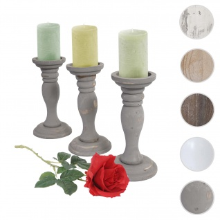3er Set Kerzenständer T361, Kerzenhalter, Shabby-Look Vintage Höhe 24cm