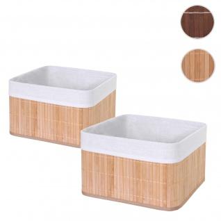 2x Aufbewahrungskorb HWC-C21, Korb Aufbewahrungsbox Ordnungsbox Sortierbox Regalkorb, Bambus