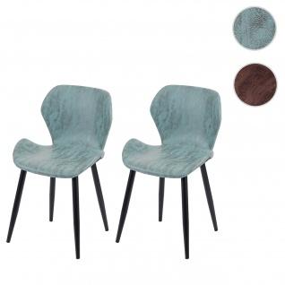 2x Esszimmerstuhl HWC F24, Stuhl Küchenstuhl, geschwungene Sitzform Kunstleder
