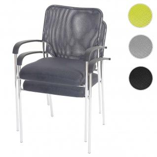 2x Besucherstuhl Tulsa, Konferenzstuhl stapelbar, Stoff/Textil