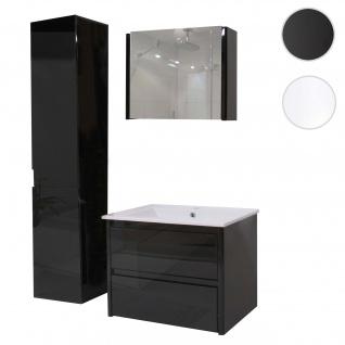 Badezimmerset XL HWC-B19, Waschtisch Spiegelschrank Hängeschrank, hochglanz