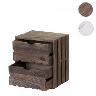 Kommode HWC-C62, Schubladenkommode Holzkiste, Shabby-Look Vintage, 2 Schubladen 36x32x26cm