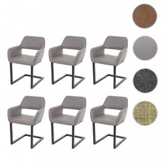 6x Esszimmerstuhl HWC-A50 II, Freischwinger Stuhl Küchenstuhl, Retro 50er Jahre Design