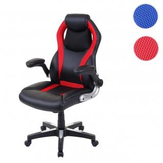 Bürostuhl HWC-F86, Schreibtischstuhl Chefsessel Drehstuhl Racing-Chair Gaming-Chair, Kunstleder