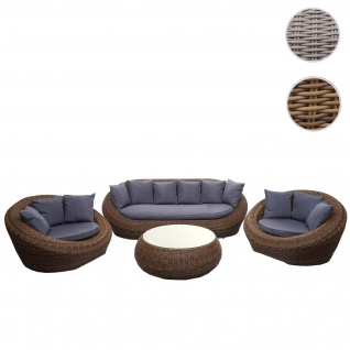 4-1-1 Poly Rattan Garnitur HWC-F88, Lounge-Set Sofa, halbrundes Rattan Alu-Gestell oval