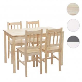Esszimmer-Set HWC-F77, Sitzgruppe Esszimmergruppe, Massiv-Holz Landhaus 110cm