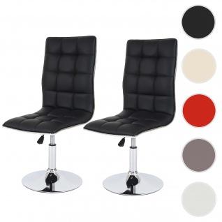 2x Esszimmerstuhl HWC-C41, Stuhl Lehnstuhl, höhenverstellbar drehbar, Kunstleder
