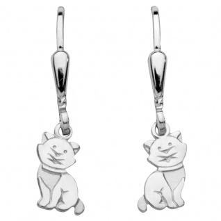 Basic Silber SK39 Kinder Ohrringe Katze Silber Kinderschmuck
