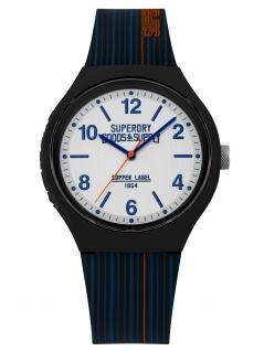 Superdry SYG252U Uhr Herrenuhr Kautschuk Blau