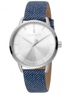 Esprit ES1L215L0015 Macy Blue Silver Uhr Damenuhr Lederarmband blau