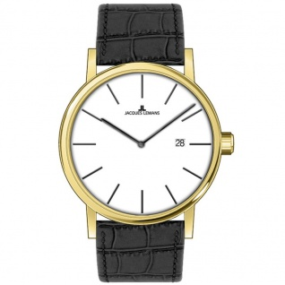Jacques Lemans 1-1727D Uhr Herrenuhr Lederarmband Datum schwarz gold