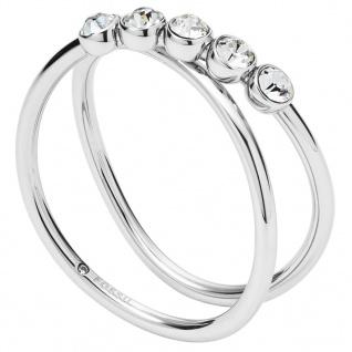 Fossil JF02740040503 Damen Ring Edelstahl Silber Weiß 50 (15.9)