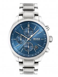 Hugo Boss 1513478 GOVNR Uhr Herrenuhr Lederarmband Chrono Datum Silber
