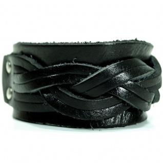 CJBB1904 Herren Armband Leder schwarz 22 cm
