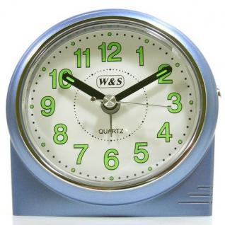 W&S 200901 Wecker Uhr blau-weiß leise Sekunde Analog Licht Alarm