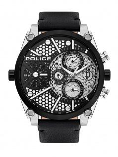 POLICE PL.15381JSTB/04A VIGOR Uhr Herrenuhr Lederarmband Datum Schwarz