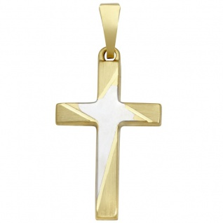 Basic Gold K05 Damen Anhänger Kreuz 14 Karat (585) Bicolor