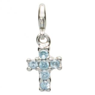 Basic Silber 22.VX098.HB Damen Charms Kreuz Silber Zirkonia blau