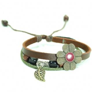 CJBB4439 Damen Armband Blume Leder braun