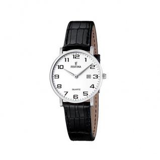 FESTINA F16477/1 KLASSIK Uhr Damenuhr Lederarmband schwarz