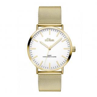 s.Oliver SO-3238-MQ Uhr Damenuhr Edelstahl Gold
