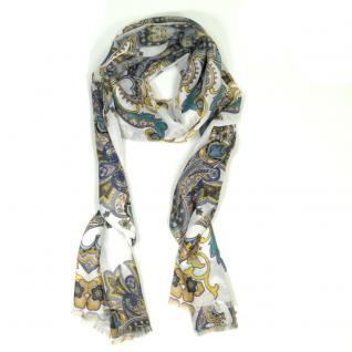 Esprit Schal Paisley Scarf Weiß Blau Grrün Stola Tuch Polyester 196 cm