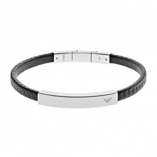 Emporio Armani Herren Armband SIGNATURE Edelstahl Leder 20, 5 cm