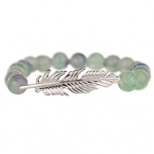 Traumfänger TFSB03SGF Damen Armband Feder Edelstahl Silber Grün 17 cm