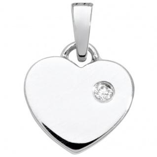 Basic Silber SK32 Kinder Anhänger Herz Silber Weiß Zirkonia