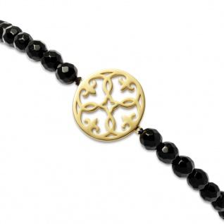 GOOIX 916-05421 Damen Armband Silber gold Achat schwarz 12 cm