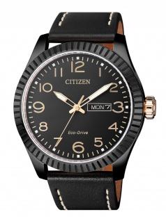 Citizen BM8538-10E Uhr Herrenuhr Lederarmband Datum Schwarz