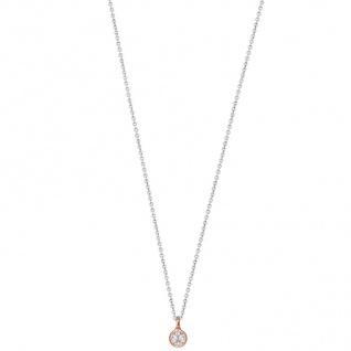 XENOX XS7284R Damen Collier Silver Circle rosé Bicolor Rose weiß 45 cm