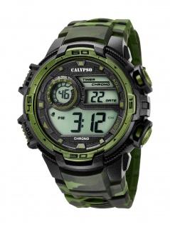 Calypso K5723/2 Chrono Uhr Herrenuhr Kunststoff Datum Alarm grün