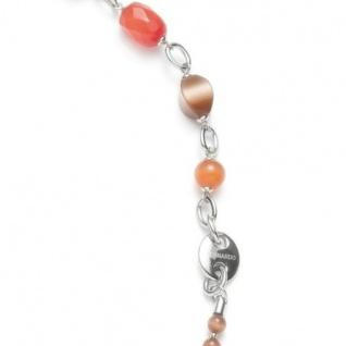 Leonardo 013413 Damen Collier Stahl Halskette pleasure lang 110 cm Glassteine braun