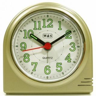 W&S 200602 Wecker Uhr champagner-weiß leise Sekunde Analog Licht Alarm