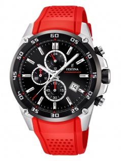 Festina F20330/7 Chronograph Uhr Herrenuhr Kautschuk Chrono Datum Rot