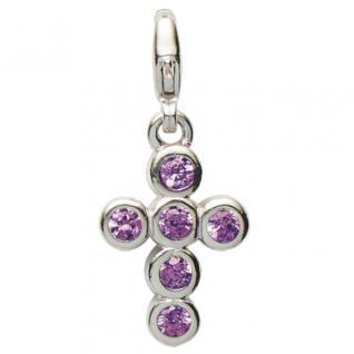 Basic Silber 22.VX099.L Damen Charms Kreuz Silber Zirkonia lila