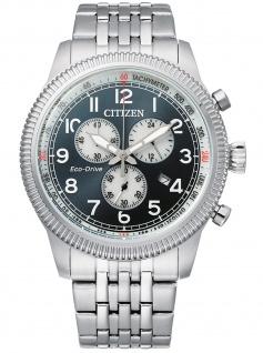 Citizen AT2460-89L Eco Drive Chronograph Uhr Herrenuhr Datum Silber