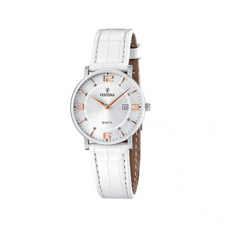 FESTINA F16477/4 KLASSIK Uhr Damenuhr Lederarmband weiß