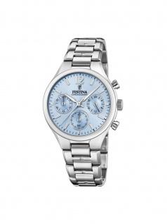 FESTINA F20391/3 Chronograph Uhr Damenuhr Edelstahl Datum Silber