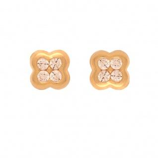 Basic Gold KI79 Mädchen Ohrstecker Blume 14 Karat (585) Gelbgold weiß - Vorschau