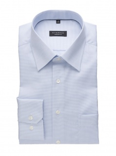 Eterna Herren Hemd Langarm Comfort Fit Blau strukturiert Blau XL/44