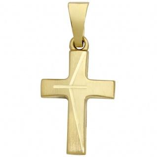 Basic Gold K19 Kinder Anhänger Kreuz 14 Karat (585) Gelbgold