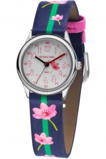 JACQUES FAREL HCC301 Blumen Uhr Mädchen Kinderuhr Lederarmband blau