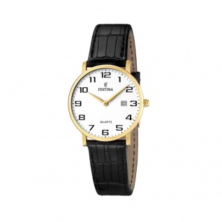 FESTINA F16479/1 Uhr Damenuhr Lederarmband Datum Schwarz
