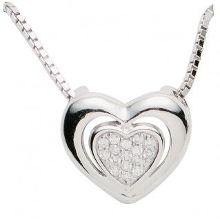 Basic Silber 21.EX499 Damen Collier Herz Silber Zirkonia weiß 42 cm