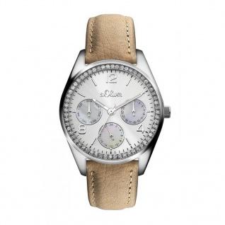 s.Oliver SO-3163-LM Uhr Damenuhr Lederarmband Datum Beige